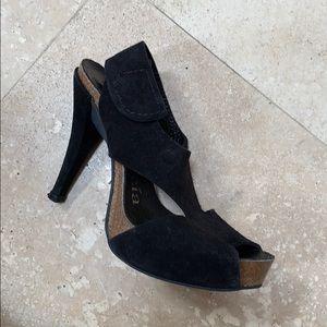 Pedro Garcia Patty Black Suede Platform Sandal 5.5